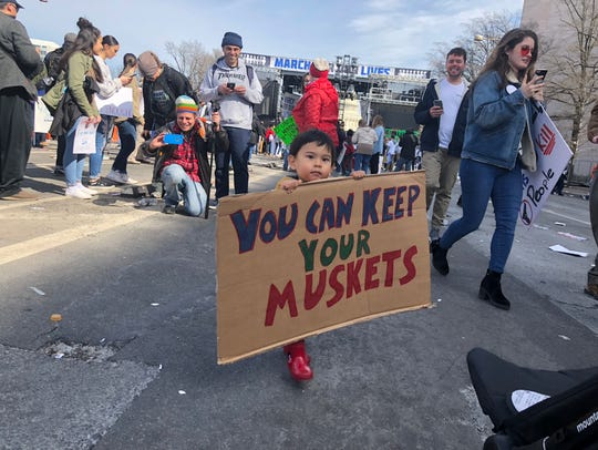 Luke Miskov, 1, attended the March for Our Lives in