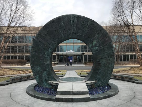 A sculpture in front of the former Toys R Us headquarters on Geoffrey Way in Wayne.