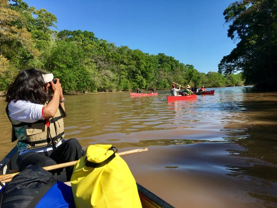 Photographer Melinda Martinez snaps shots of paddlers on the inaugural Vermilion Voyage, a 50-mile guided paddle down Vermilion River.