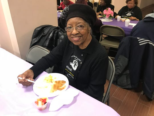 Ophelia King, 93, enjoys free community breakfast at Mt. Olivet Baptist Church in Rochester Monday, March 26, 2018.