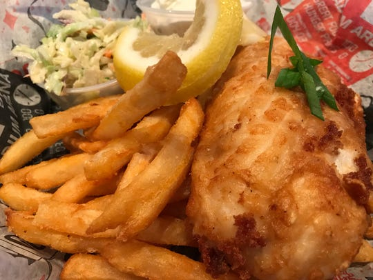 One of the favorites at Sideliners is its Friday fish fry, featuring both cod and walleye.