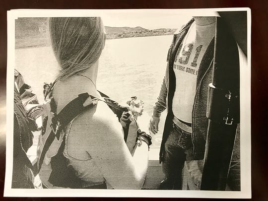 This copy of one of the photos submitted as evidence for the Angelika Graswald murder case. It was taken April 29, 2015, at Bannerman Island.