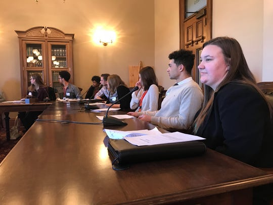 High School students participate in a mock House insurance committee meeting at the Michigan Capitol on March 19, 2018.
