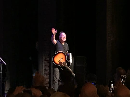 "The end of the March 27 performance of  ""Springsteen on Broadway."""
