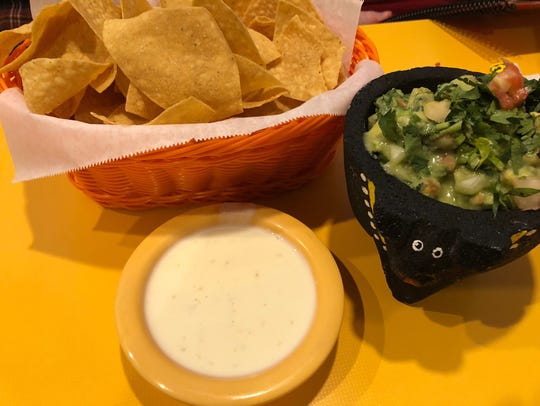 The guacamole and queso at Mesquite Grill are show