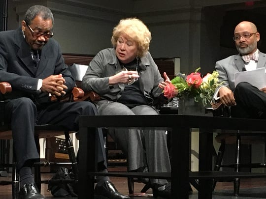 Moderator Russ Wigginton, right, looks on as Jocelyn Dan Wurzbug, center, speaks with Calvin Taylor during panel about the legacy of the Martin Luther King Jr.'s assassination on March 27, 2018.