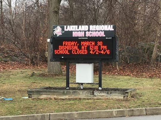 Stock photograph of a display sign outside Lakeland Regional High School on Conklintown Road in Wanaque.