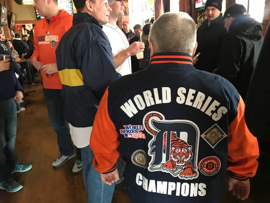 Mike Gatteri, 68, of Redford shows off his World Series jacket.