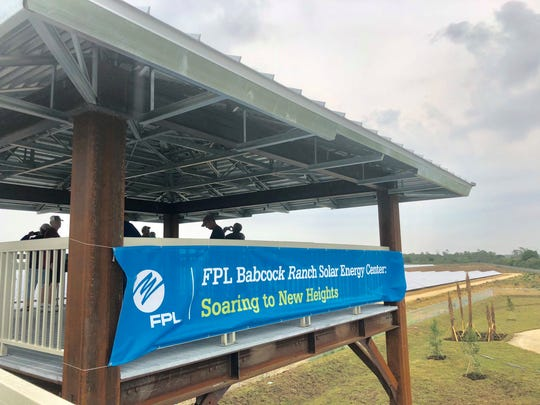 A three-story viewing platform allows visitors a look at the Babcock Ranch Solar Energy Center.