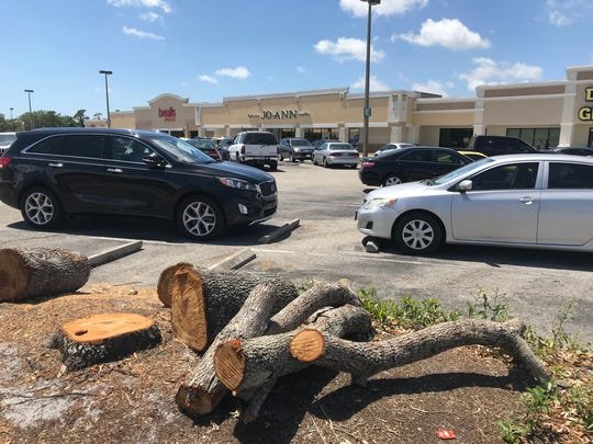 Dozens of trees have been cut down at Merchants Crossing shopping center in North Fort Myers for a plaza-wide renovation.