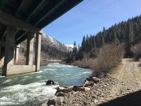 Truckee River under Interstate 80 at Farad, Calif.