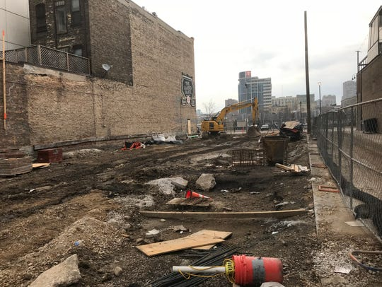 "Site work continues on the beer garden ""connector"" that will link the plaza in front of the new basketball arena with N. Old World 3rd St."
