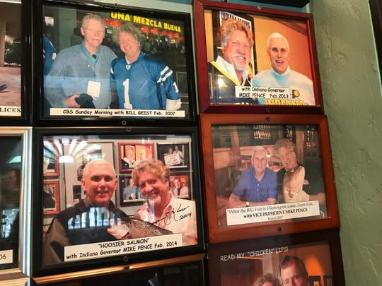 Vice President Mike Pence, a longtime vacationer on Sanibel, is featured in three different photographs on the walls of The Timbers Restaurant.