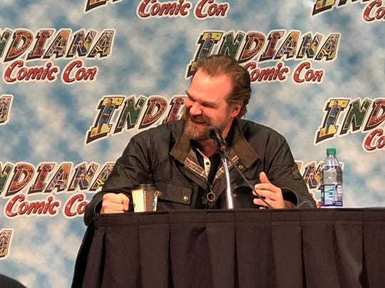 """""""Stranger Things"""" star David Harbour speaks at Indiana Comic Con on March 31."""