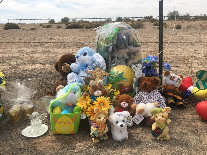 The memorial for 10-year-old Jesse Wilson at the site