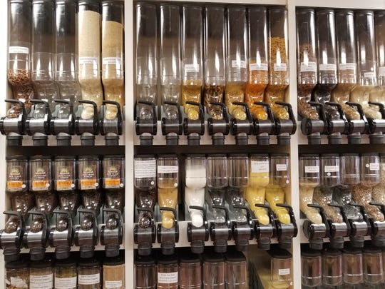 The wall of dry goods at JAR, an eco-friendly and zero