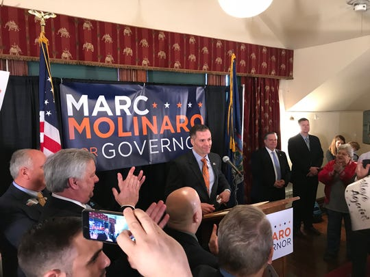 Dutchess County Executive Marc Molinaro announces his candidacy for the Republican nomination for New York governor on Monday, April 2 at Village Hall in Tivoli.