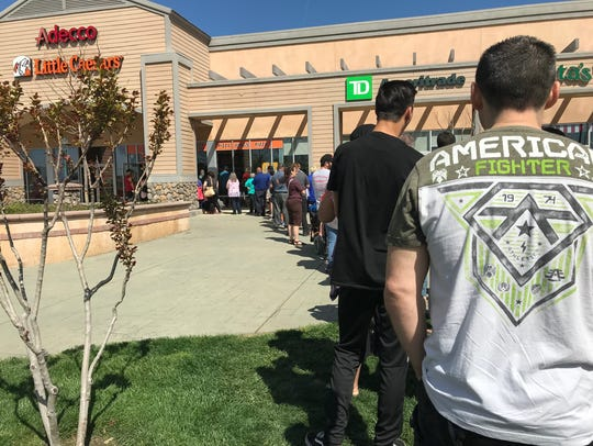 The line at the Little Caesars restaurant on Cypress