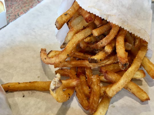 The thin hand-cut fries at Hugh-Baby's in West Nashville