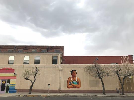 Oscar Zeta Acosta mural in Downtown El Paso at Cinco