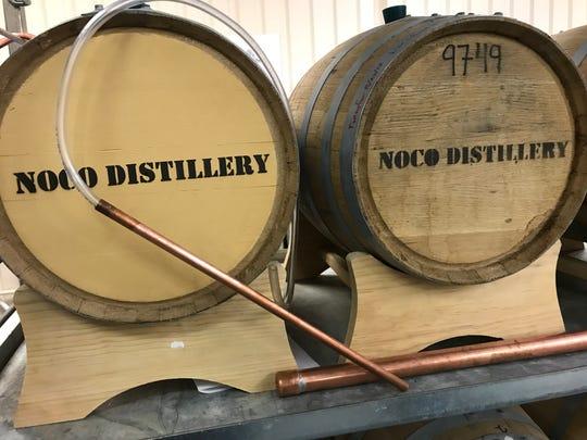 Barrels used at NOCO Distillery.