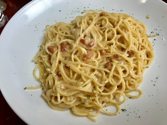 Spaghetti carbonara from Bella Vita.