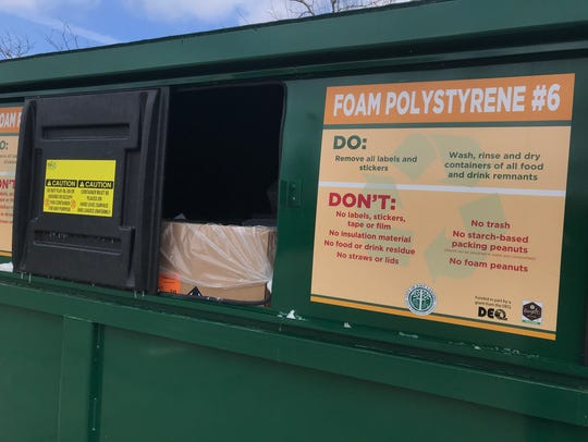 New drop-off recycling bin at the East Lansing Public