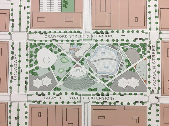 The vision plan for midtown includes a town center, which is proposed to be bounded by Broadway and Jackson Street, along with the extensions of two other streets.