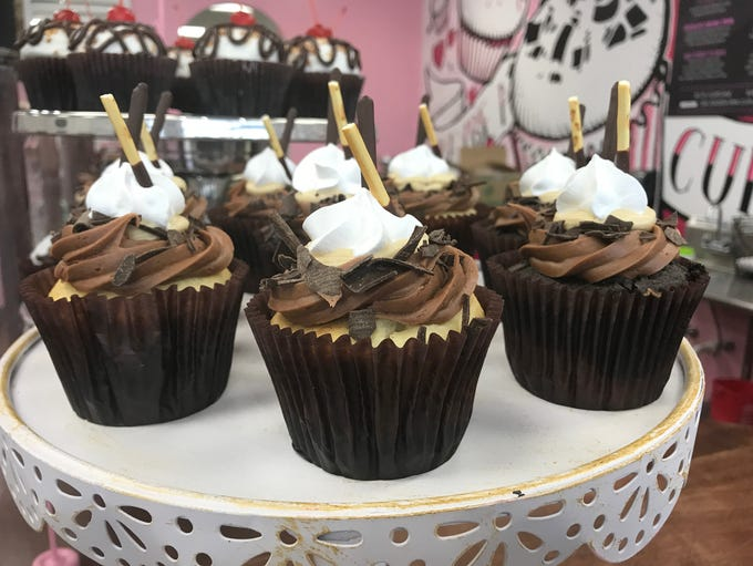The mudslide cupcake has Mudslide, marble cake, coffee