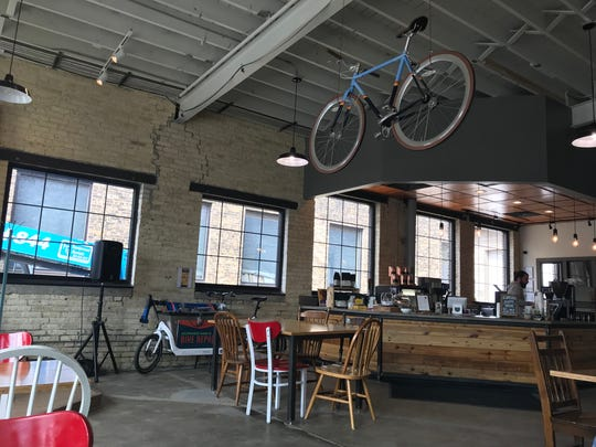 Velobahn Coffee & Cycle, 3618 W. Pierce St., is off the Hank Aaron Trail and shares space with a bicycle-maintenance shop.