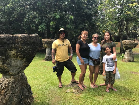 Janice Reyes (third from left) and her family drove
