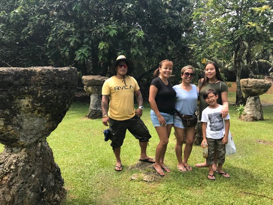 Janice Reyes (third from left) and her family drove down to Talofofo from Dededo to attend the third annual Valley of the Latte River Festival on April 8, 2018.