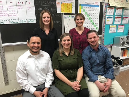 The Edison Middle School math team was one of seven winners of a 2018 Golden Apple teaching award. Pictured from left are: Eduardo Pineda, Holly Snyder, Andrea Huggett, Debbie Joski and Jared Barker.