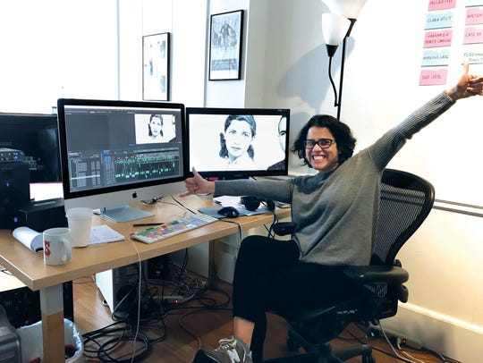 Gutierrez celebrates when she completes editing RBG.