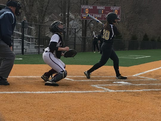 Cedar Grove's Ava Mandala (10) scored the first run