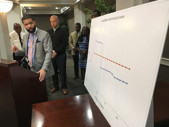 Mayor Chokwe Antar Lumumba refers to a chart to explain