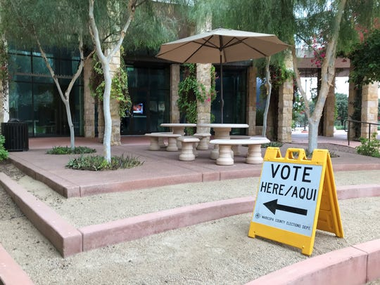 A sign directing Surprise voters to the ballot box