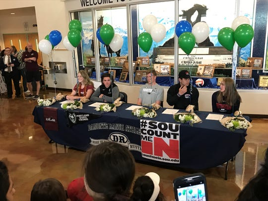 Damonte Ranch had five athletes sign National Letters-of-Intent in a ceremony Wednesday at the school. Left to right: Anna Bonk, softball, Southwestern Oregon CC, Coos Bay Oregon; Ryon Hurley, football, Portland State; Richie Garcia, football, Southern Oregon, Ashland, Oregon; Ryan Madole, football, Nevada; McKinley Thiede, volleyball, Louisiana at Monroe.