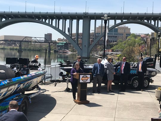 Knoxville Mayor Madeline Rogero speaks Wednesday, April 11, 2018, at Volunteer Landing. The 2019 Bassmaster Classic fishing tournament is coming to Knoxville March 15 through 17, announced by officials from B.A.S.S., the Tennessee Department of Tourist Development, Knoxville and Knox County.