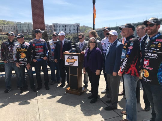 State and local officials are flanked by likely competitors in the 2019 Bassmaster Classic, which will be held in Knoxville March 15 through 17. The announcement came April 11, 2018, at Volunteer Landing on Knoxville's riverfront.