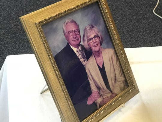 A photograph of Douglas and Opal Shearron is on display