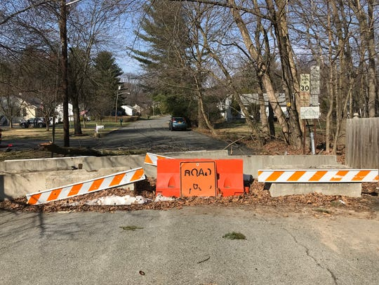 The barrier on the Nanuet side of Samuel Road, which is blocked off at the Chestnut Ridge border, in an April 2018 photo.
