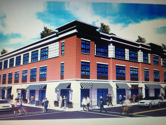 An artist's rendering of the proposed mixed-use building
