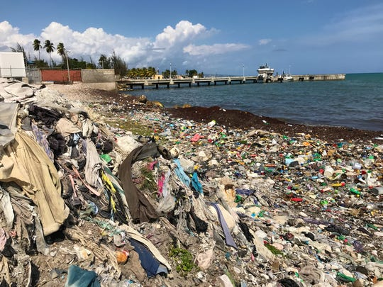 Plastic waste from the Caribbean sea washes up on Haiti's