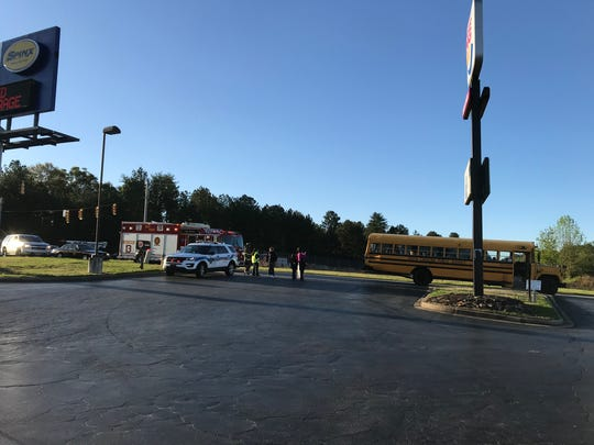 No injuries were reported after a Greenville County school bus was hit by a tractor-trailer Monday morning.