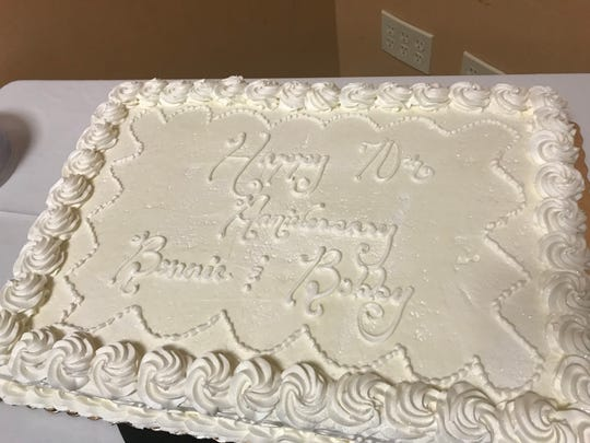 "The cake: ""Happy 70th Anniversary, Bonnie and Bobby."