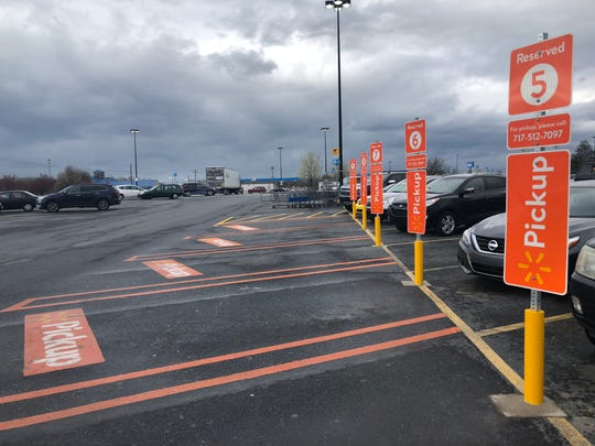 Chambersburg Walmart has parking spaces set aside for online grocery shopping and pickup.