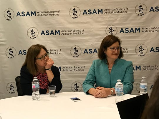 Elinore McCance-Katz, at left, assistant secretary of mental health and substance abuse for the U.S. Department of Health and Human Services, and Kelly Clark, president of the American Society of Addiction Medicine, speak with reporters April 13, 2018.