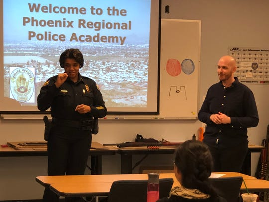 Phoenix Police Chief Jeri Williams speaks at an educational