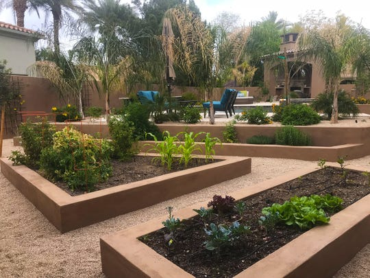 The herb and vegetable garden the homeowners use for